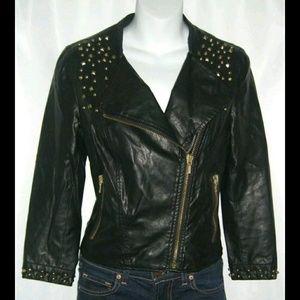 Zara Trafaluc Black Studded Moto Motorcycle Jacket